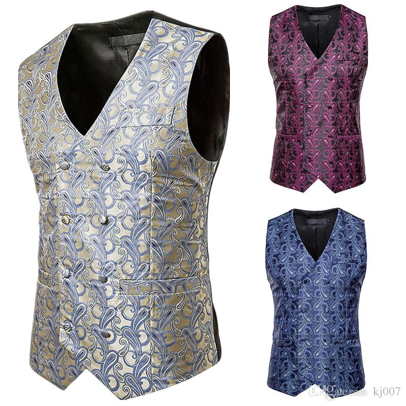 Men Vests Paisley Design Groom Vests High Quality Wedding Party Clothing Outerwear Mens Fashion bridegroom Waistcoat British Style Man Vests