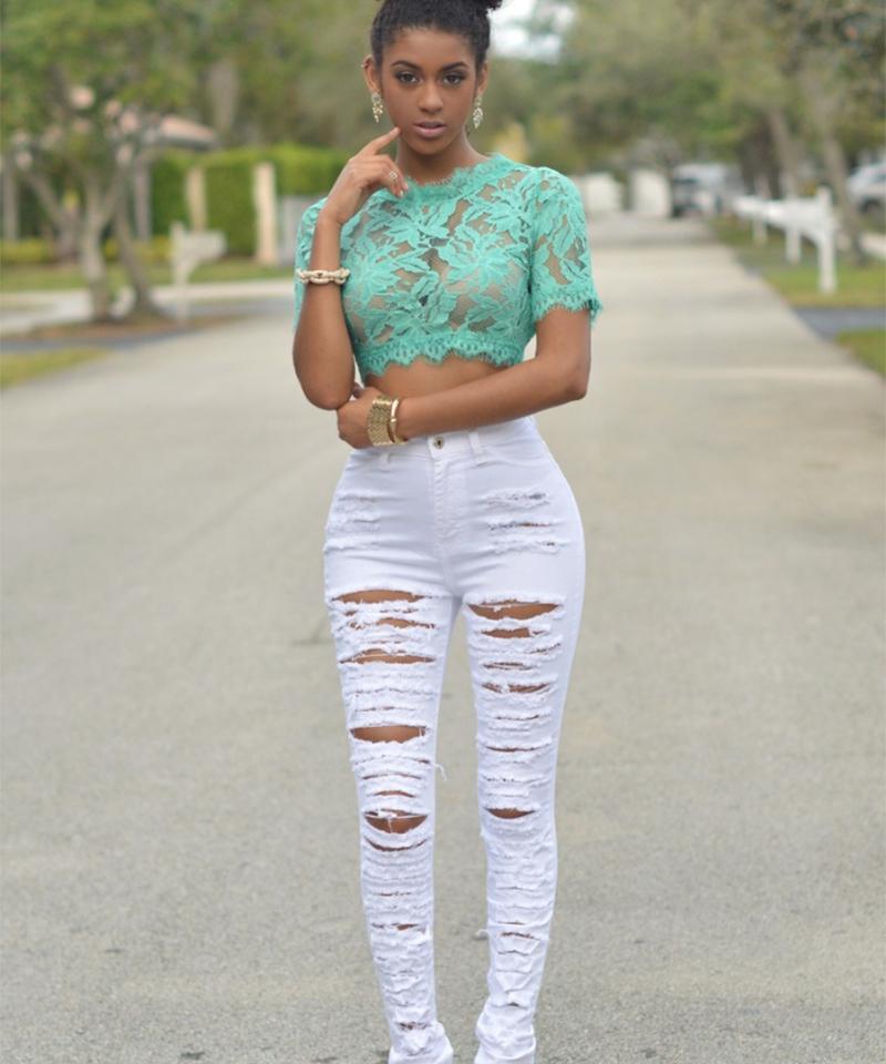 New Designer Denim Women 2018 High Waist Ripped Jeans For Women Skinny Black White Jeans Woman Elastic Slim Jean Female Femme 50 MX190712
