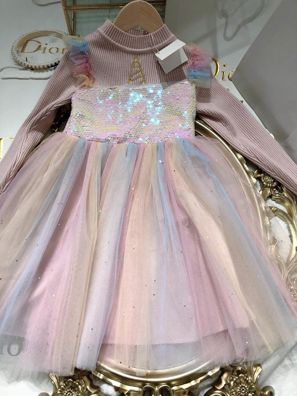 vestidos de las muchachas 2020 nuevos niños ropa de moda otoño y el invierno lentejuelas costura de malla vestidos WSJ024 # 122029