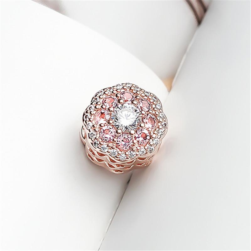 100% стерлингового серебра 925 пробы розовый блеск цветок Кристалл CZ Шарм бисера подходит Европейский Pandora ювелирные изделия Шарм браслеты ожерелье