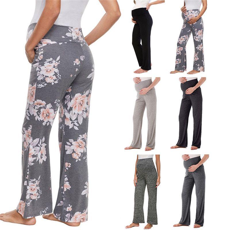 Femmes maternité jambes larges pantalons floral droite polyvalent confortable Lounge Stretch pantalons de grossesse loft Yoga Work Planet Pants chaud LJJA2312