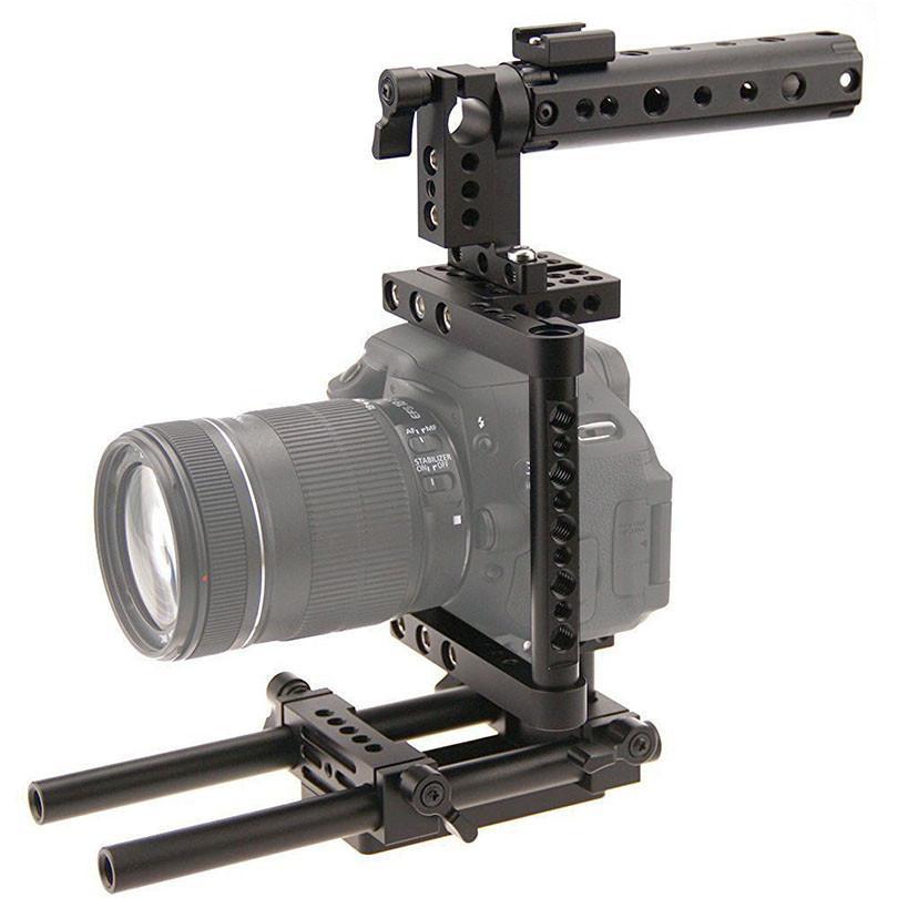 CAMVATE Aluminum DSLR Cage Top Handle Grip Camera Stabilizer Rig Tripod Mount Plate For Canon Nikon Sony Panasonnic 1229 (3)