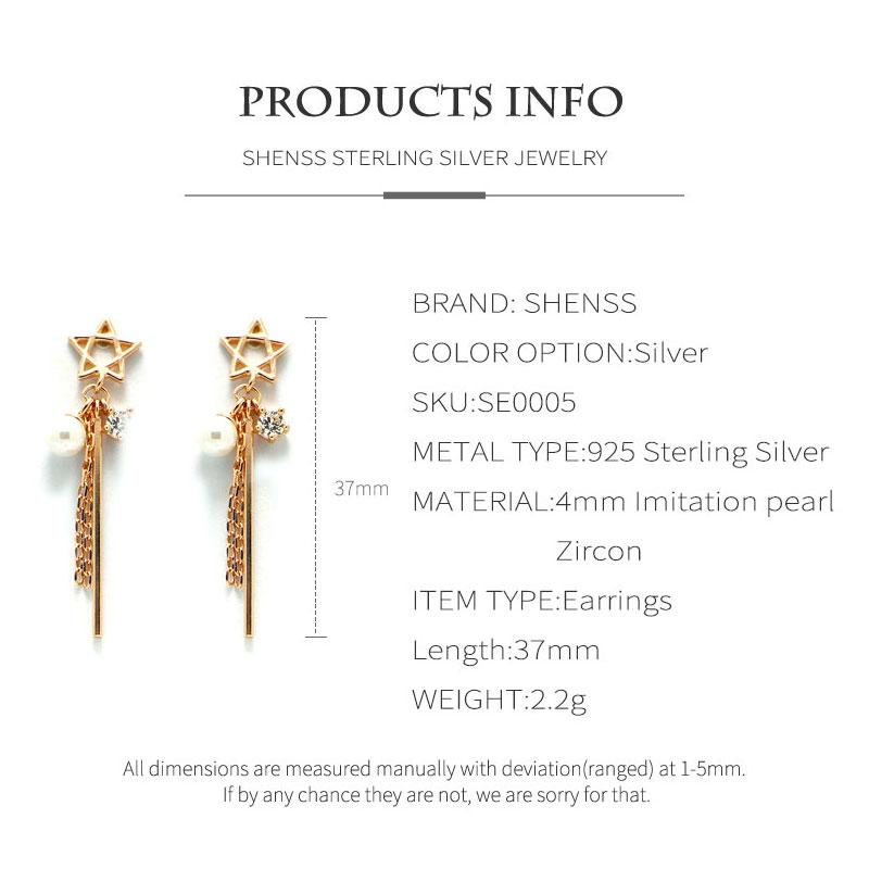 925 sterling silver earrings for women original sweet star pearl earrings rose gold temperament long earrings female