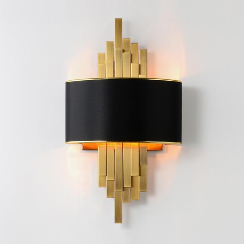 포스트 모던 거실 주도 벽 램프 E14 블랙 램프 그늘 골드 금속 파이프 침실 머리맡 벽 빛 복도 계단 벽 보루