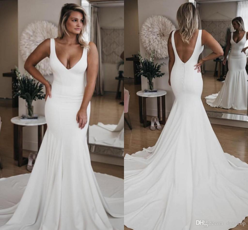 Modest 2019 white wedding dresses v neck backless satin Bridal Gowns Sweep Train plus size Mermaid Wedding Dress