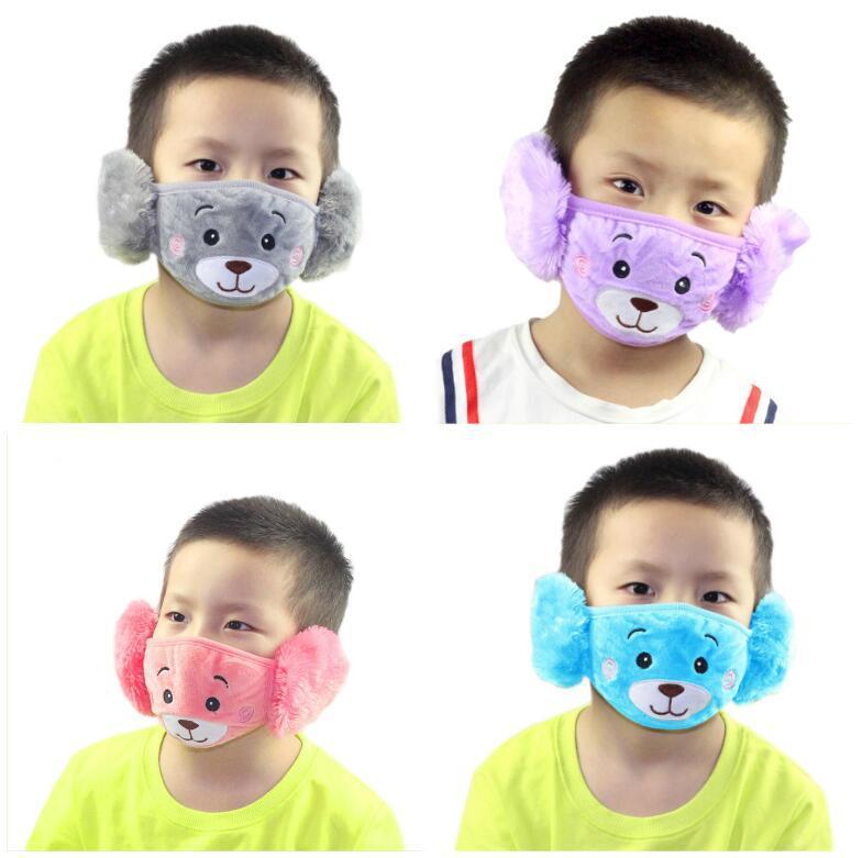 2 en 1 mascarilla para niños oso de dibujos animados Cara Con felpa gruesa del oído protector y cálido máscaras bucales Niños favores de invierno-mufla Boca para el partido