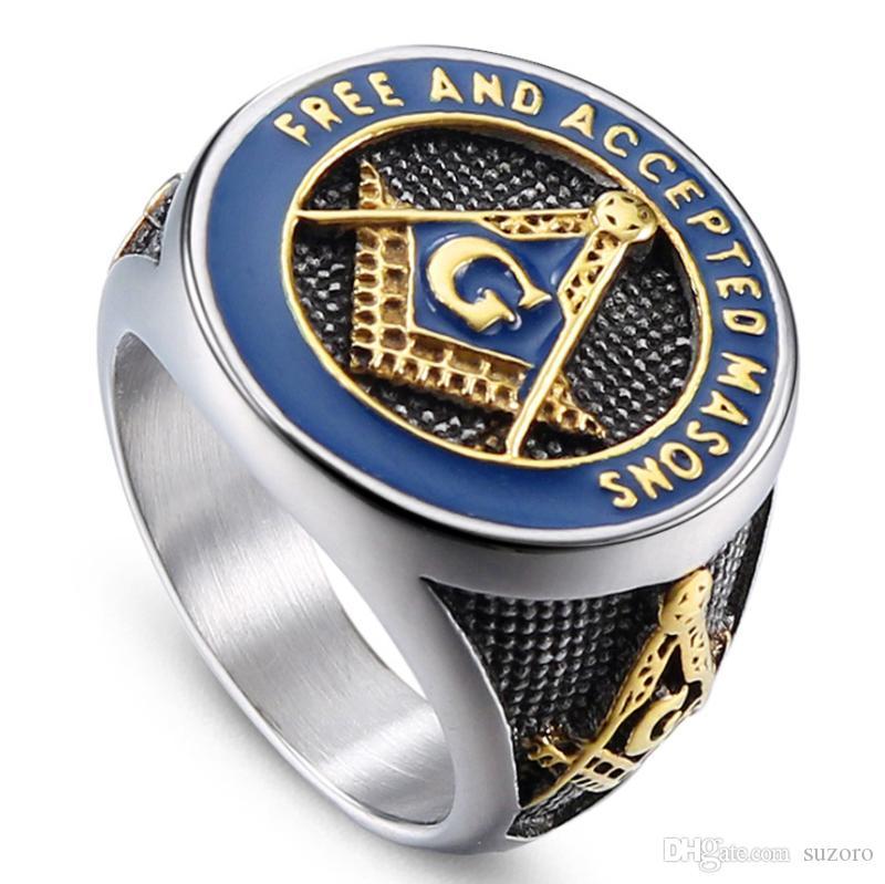 European and American fashion religion Titanium steel masonry ring Punk retro men's stainless steel gum ring