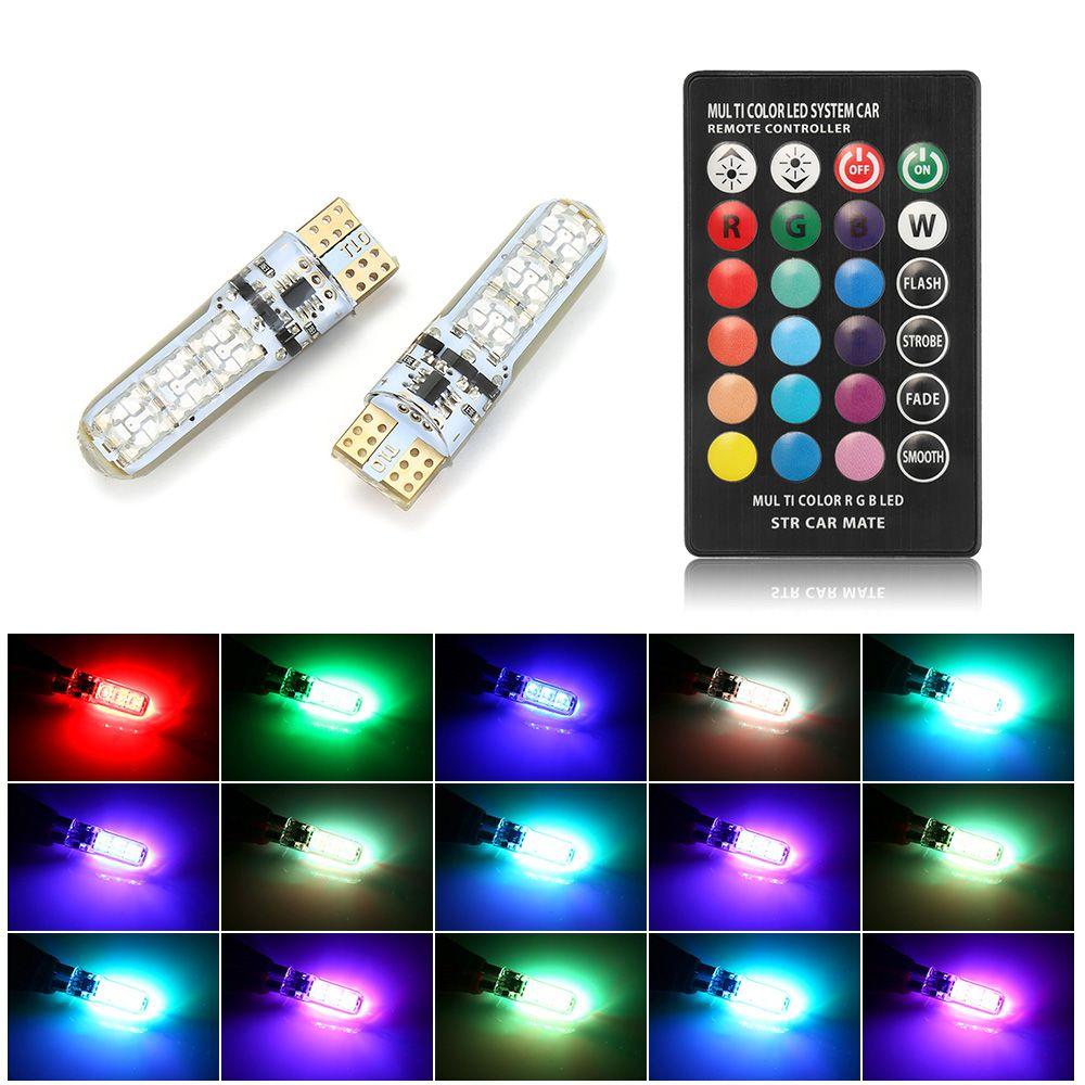 RVB T10 W5W LED 194 168 W5W 5050 6SMD Dôme de voiture Light Automobiles Lampe Lampe RGB Ampoule à LED avec télécommande DHL GRATUIT