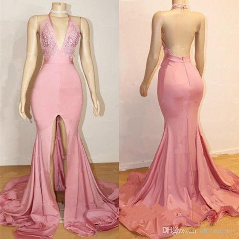 Sexy Mermaid Pink Prom Dresses 2019 Halter Neck Open Back Split Formal Evening Gowns Bead Lace Black Girls Party Wear
