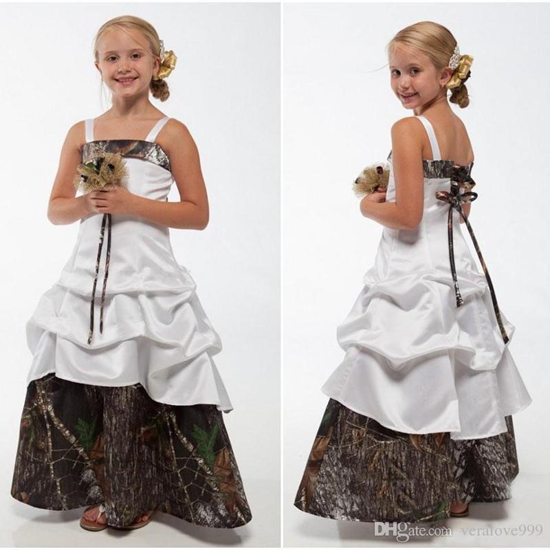 Camo Flower Girls Dresses Spaghetti Straps Lace-up Back Floor Length Wedding Guest Dresses A Line Kids Formal Wear Custom Made