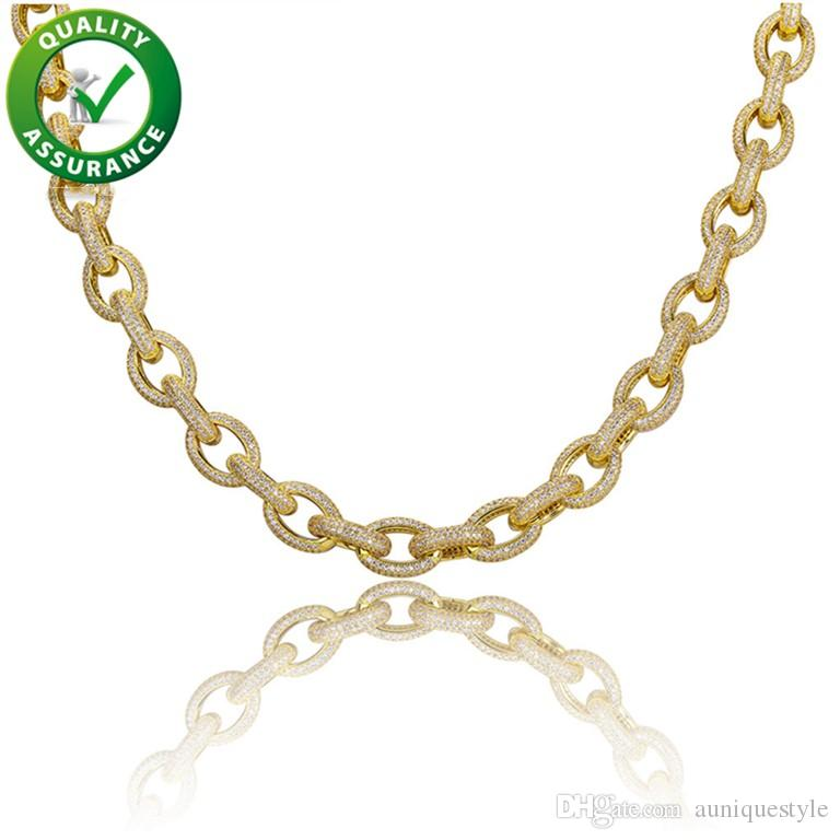 Iced Out Chains Hip Hop Luxury Fashion Jewelry Mens Designer Necklace Rapper Diamond Miami Cuban Link Chain Micro Paved Bling CZ Accessories