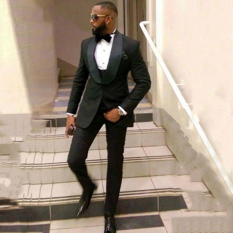 2019 benutzerdefinierte schwarze Herren Hochzeitsanzug Hochzeit Smoking-Prom-Anzug Jacke + Hosen + Weste Bräutigam Smoking Groomsmen beste Mannanzug