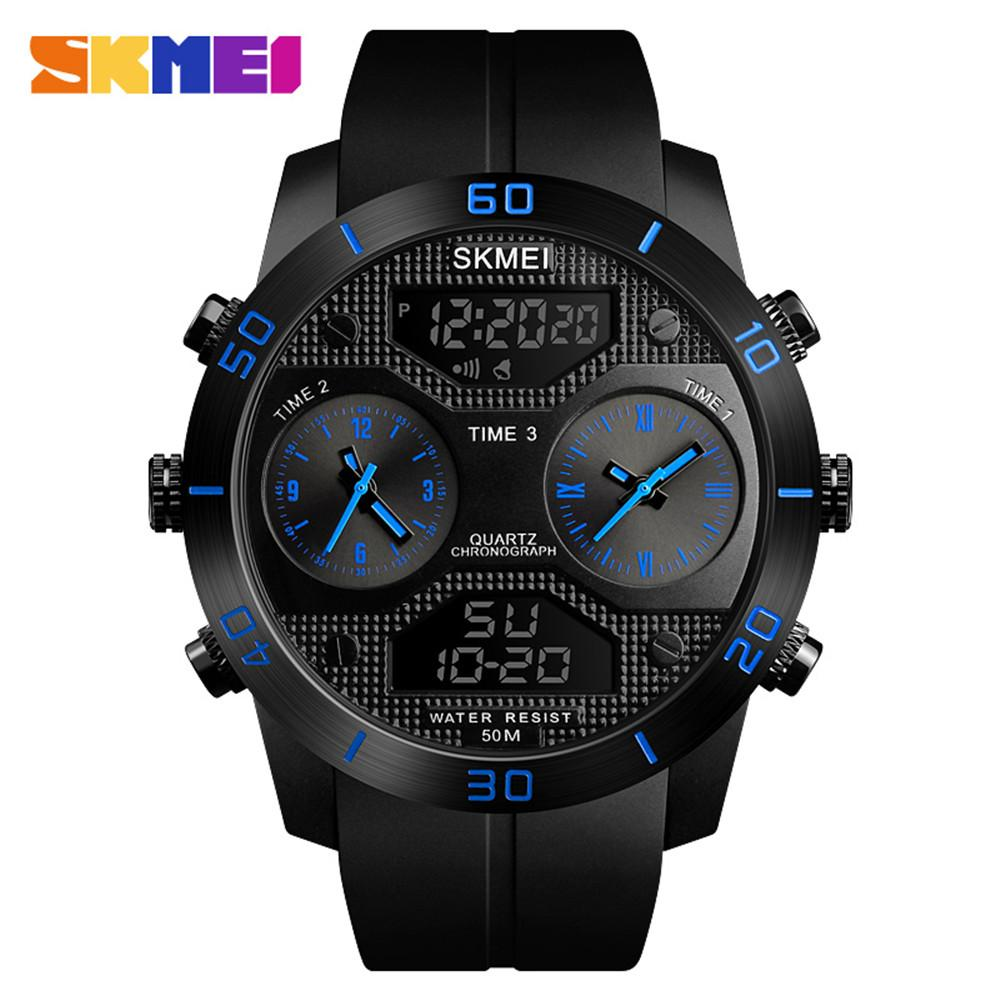 atacado Outdoor Sport Watch Homens multifunções LED digital de pulso 5 Bar impermeável militar 3 Tempo Relógio Relógio 1355
