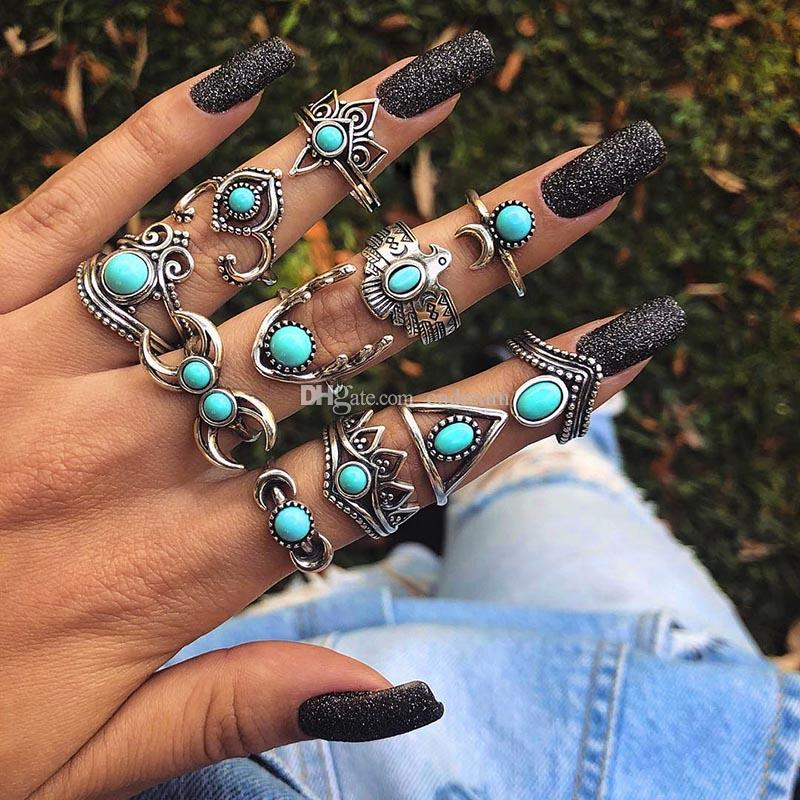 ancient silver Crown Moon Owl Drop Stacking Rings band finger Turquoise Knuckle Ring Set women fashion Jewelry Will and Sandy gift