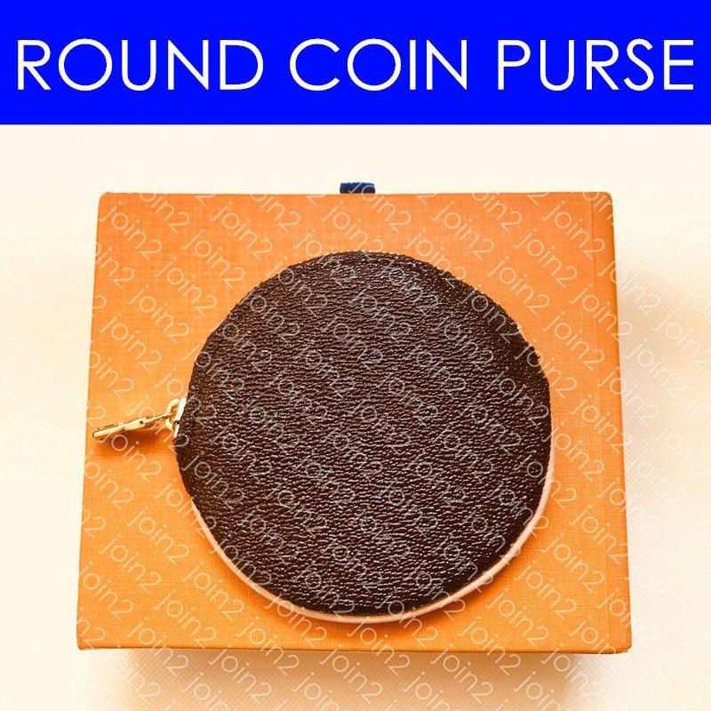 M61926 REDONDO MONEDERO M68524 mini-monedero tamaño Zippy caja redonda de la moneda con el gancho del bolso encanto de la llave Pochette Accessoires Cles la carpeta del organizador