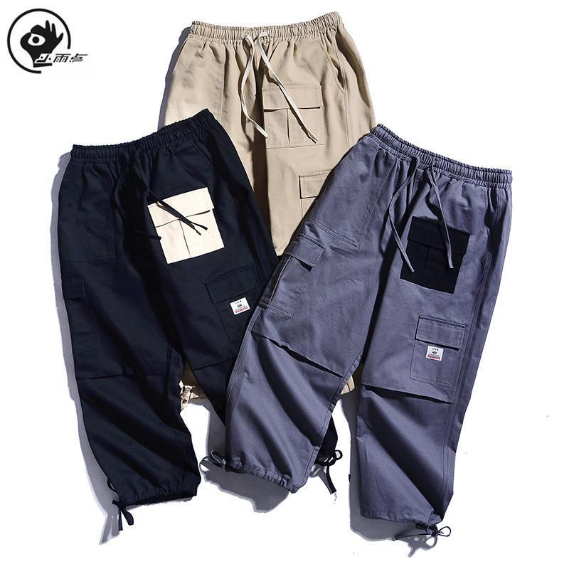 Peu Raindrop Pantalons simple hommes solides couleur multi poches en vrac Pantalon droit Homme Coton Homme Pantalon cargo