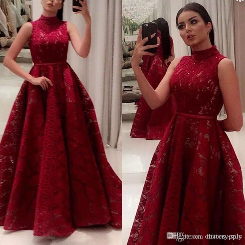 Saudi Arabic Dubai Dark Red 2019 Long Prom Dresses High Neck A Line Lace Evening Gowns with Belt Pageant Red Carpet Gowns Formal Dresses