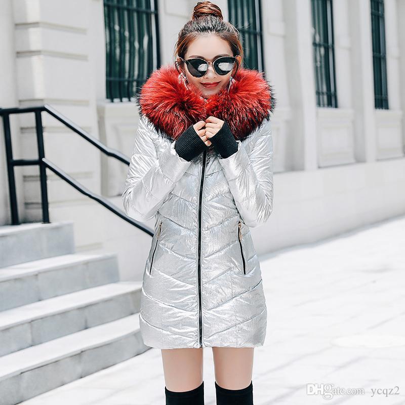 Giacca invernale donne 2019 modo di marca ispessimento inverno caldo Down Jacket Le donne del parka cappotto lungo Slim con cappuccio cappotti di pelliccia 4 colori