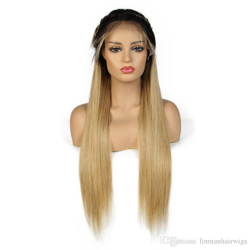 1B / 27 Ombre Spitze-Front-Menschenhaar-Perücken brasilianische gerade Remy Haar Honey Blonde volle Spitze-Perücke für schwarze Frauen mit Baby-Haare