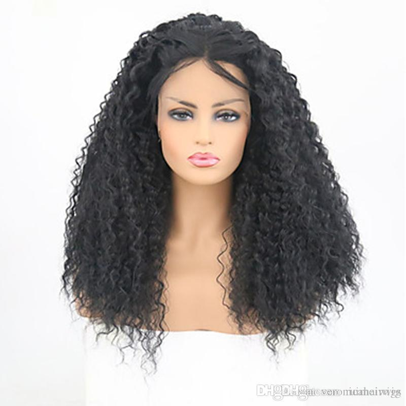 Free Shipping Synthetic Lace Front Wig Afro Kinky Curly Layered Haircut 180% Density Heat Resistant Black Wig Women's Wig with Baby Hai
