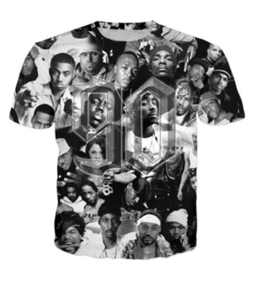 Plus Mode Mens / Womans Tupac Rapper 2Pac Drôle T-shirt Funny AA07 Style Summer Unisexe Imprimer 90s Casual Tableau 3D Tableau Nouveau T-shirt WBHKI