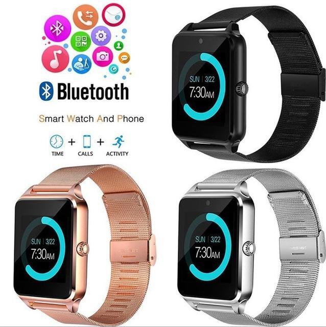بلوتوث الذكية ووتش Z60 Smartwatches غير القابل للصدأ سوار الذكية مع SIM كاميرا بطاقة لالروبوت IOS الهواتف المحمولة مع صندوق البيع بالتجزئة