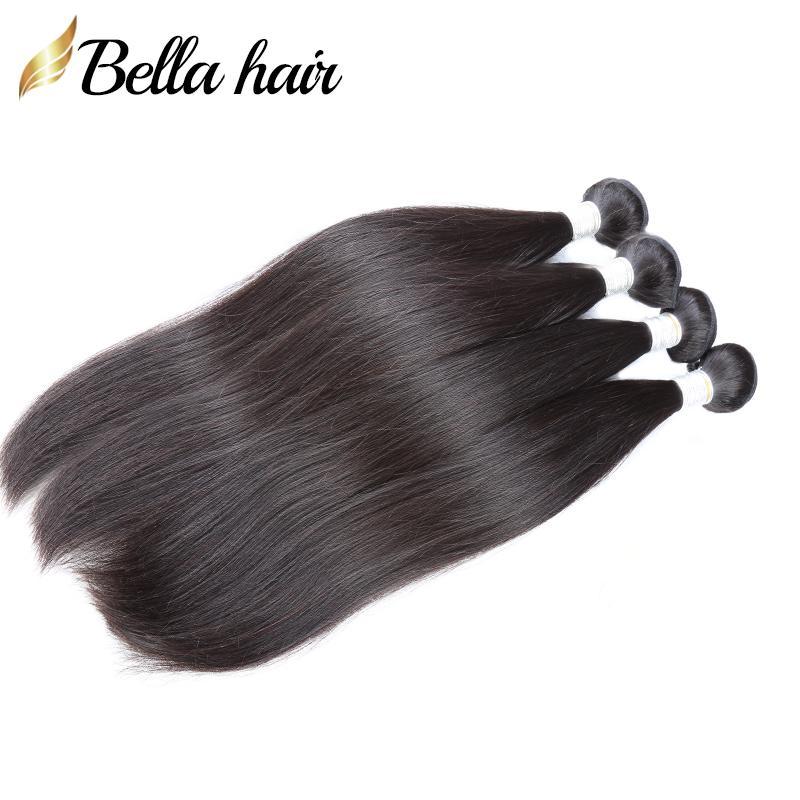Bellahair 100% Malaysian Hair Weaves 4pcs/lot Virgin Human Hair Bundles Straight Hiar Extensions 10-24inch DHL Free Shipping Natural Color