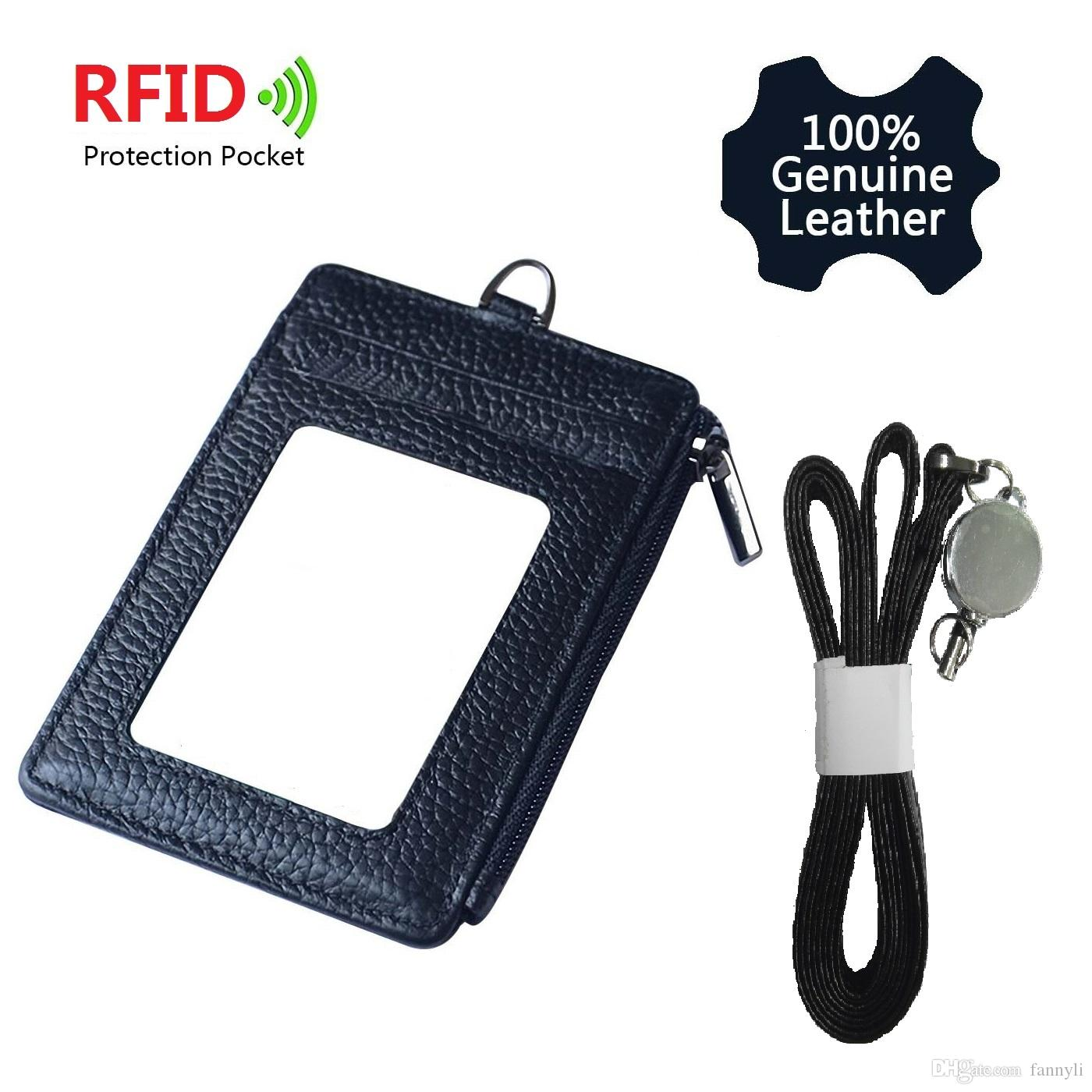 Genuine Leather Credit Card Holder Wallet ID Badge Case with Neck Strap