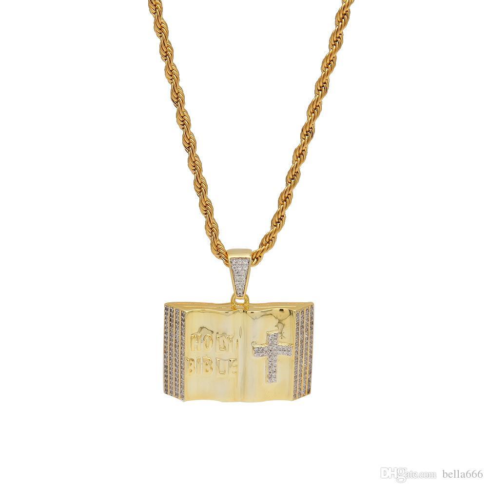 Moda Hip Hop Collana ciondolo bibbia pavimentata Cubic Zirconia Croce Charms in acciaio inossidabile Twist catena Rapper gioielli per gli uomini