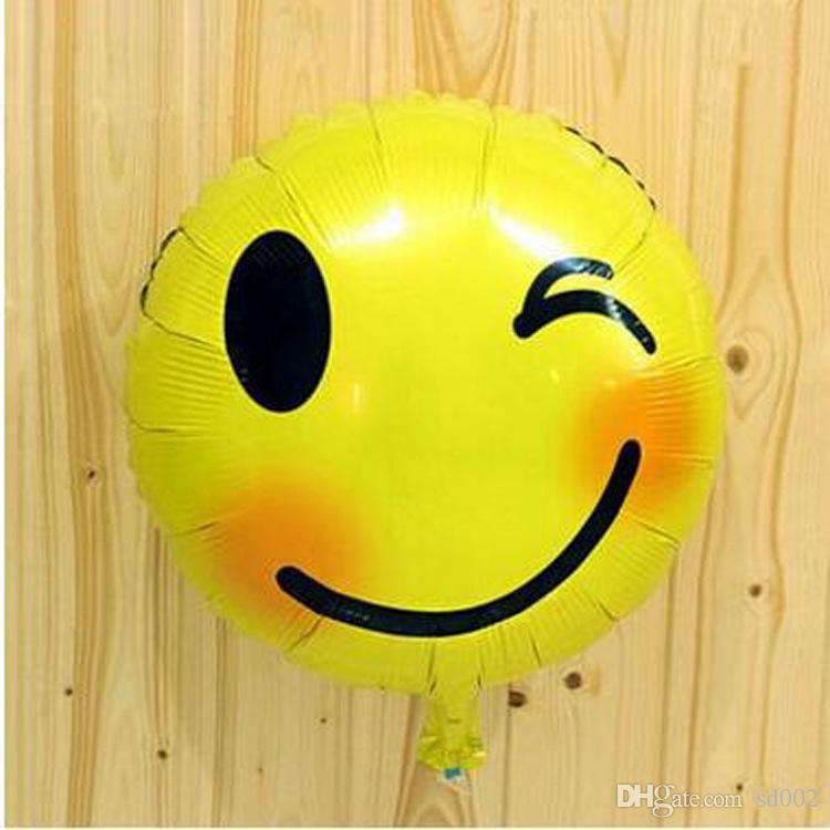 18 pollici Airballoon rotondo Emoji modello foglio di Alluminio Air Balloon Cartoon bella palloncini decorazioni di nozze 0 43sl B
