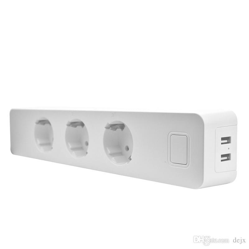 Freeshipping Usb Power Strip Socket With 2 Usb Standard Extension Socket Plug Power Strip Home Electronics Adapter EU Plug