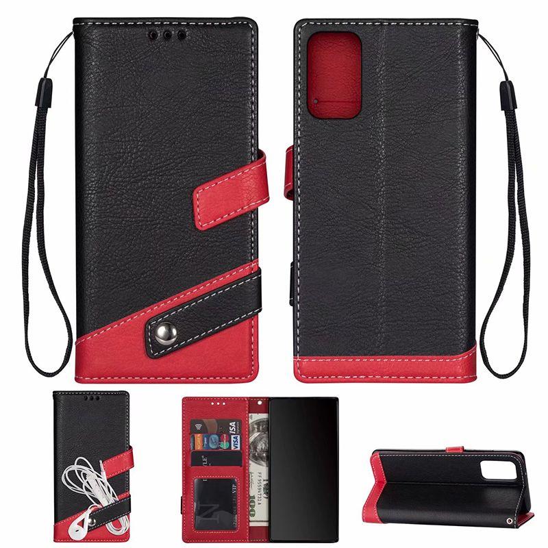 caso cubierta de la carpeta del cuero del color tarjeta de identificación de doble ranura del teléfono tirón en Hit de iphone11 pro max XS MAX XR 6 7 8 PLUS Samsung S10 S20 PLUS Nota 10 PLUS