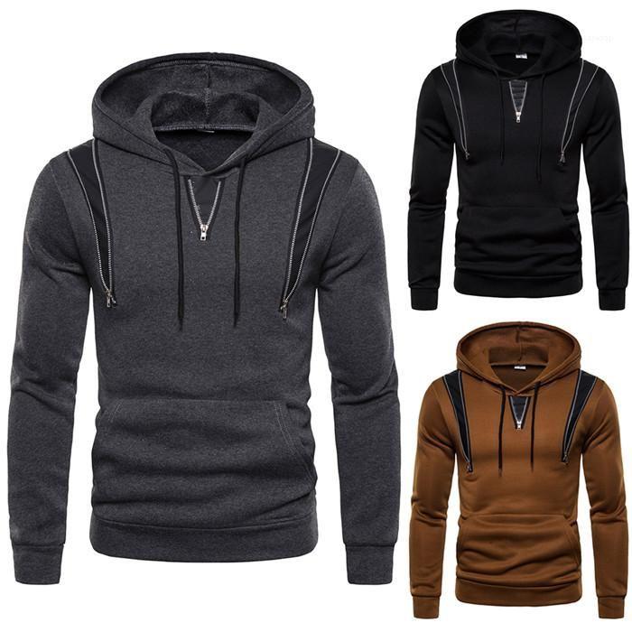 Hoodies Primavera roupa do outono cor sólida moleton Homme roupa ocasional com Zipper manga comprida Pullover