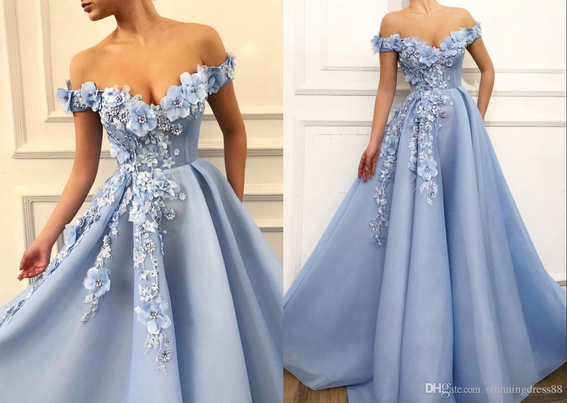 Eye-Catching 3D Flowers 2020 Prom Dress Off the shoulder Cheap Long Beaded A line Organza Pleated Corset Back Evening Red Carpet Dress