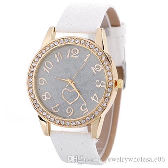 Для женщин Часы Алмазный Оптовая часы розового золота женщин кожа Часы кварцевые сердца Женские часы