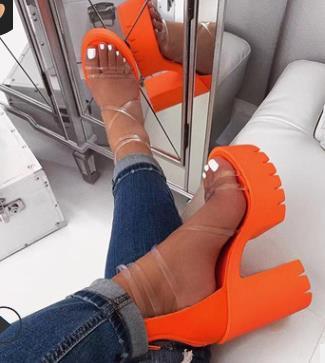 여성 샌들 2020 여름 새로운 도착 여성의 신발 패션 방수 플랫폼 굽 높은 샌들 여성