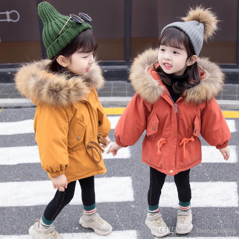2019 layette longues en coton JacketOutwear enfants Veste en coton rembourré layette manteau d'hiver chaud fourrure Hooed Habineige enfants