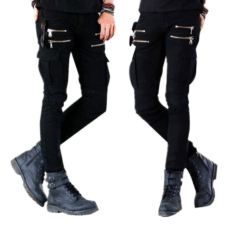 Erkek Punk Rock Skinny Kargo Pocket Jeans Pantolon Erkek Siyah Denim Biker Jeans Fermuar Yan Cep Erkekler Kalem Pants ile