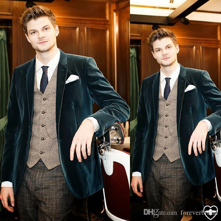 Мода Мужчины Бархат Свадебные Смокинги Только Одна Кнопка Куртка Для Женихов Остроконечный Отворот На Заказ Блейзер
