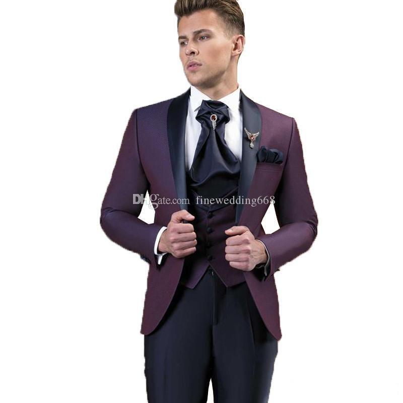 Newest Deep Red Groomsmen Shawl Lapel Wedding Groom Tuxedos Men Suits Wedding/Prom/Dinner Best Man Blazer(Jacket+Tie+Vest+Pants) 561