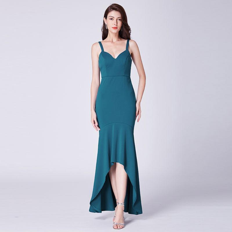 mavi, yeşil zarif spagetti kayışlar denizkızı Backless kolsuz beden akşam yetişkin parti balo elbiseleri
