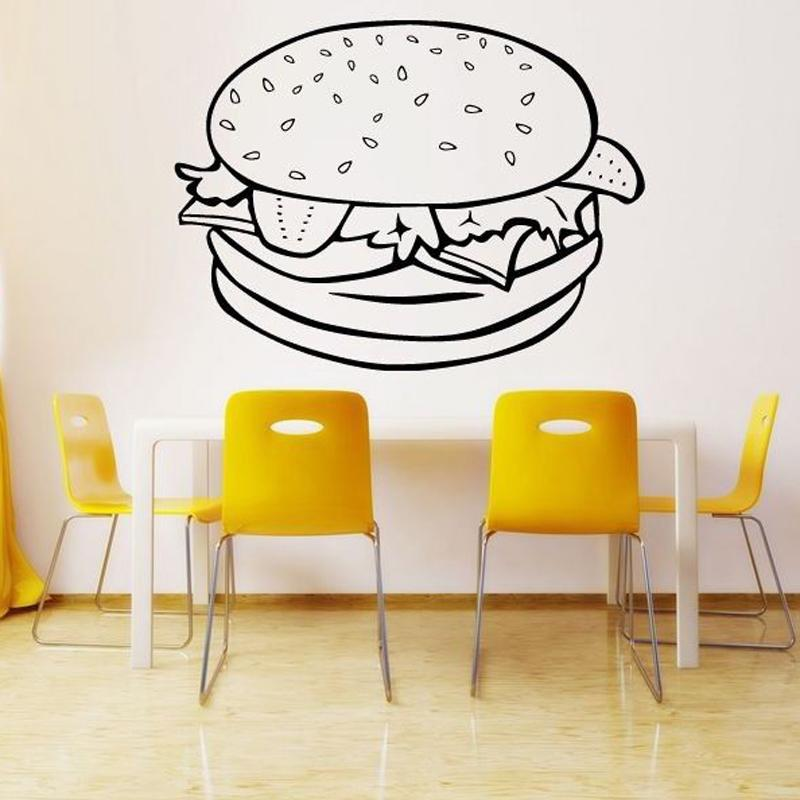 Hamburger Burger Sandwich Wall Stickers for Kitchen Room Background Wall Decals Nursery Restaurant Vinyl Art Murals Poster