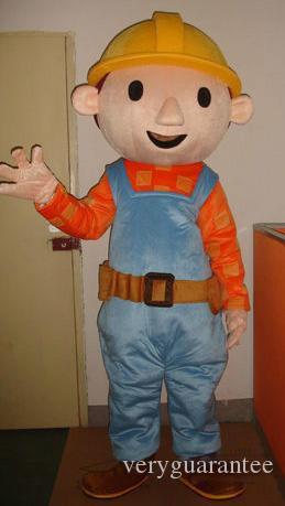 Bob der Baumeister Maskottchen Kostüm Ingenieur Maskottchen Kostüm für Erwachsene Halloween Carnaval Kostüm