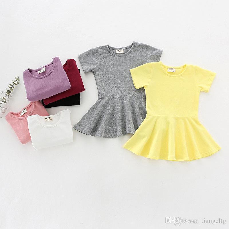 Bébé fille Robe solide 7 dossier de conception bonbons couleur à manches courtes en coton Robe Volants Balancez enfants Vêtements pour les filles Tenues 9M-04 2T