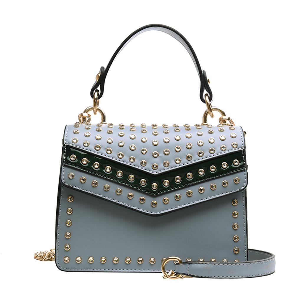 Мода женщина мешок плечо Pu Кожа Молодёжных дам Малого квадрат сумка Light Wild Простой Женский ежедневный посыльный Водонепроницаемый # LR4