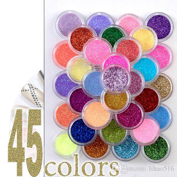 설정 12 개 18 24 45 색상 고급 네일 아트 반짝이 파우더 스파클링 안료 먼지 팁 장식 바디 페인팅 메이크업 아이섀도 문신