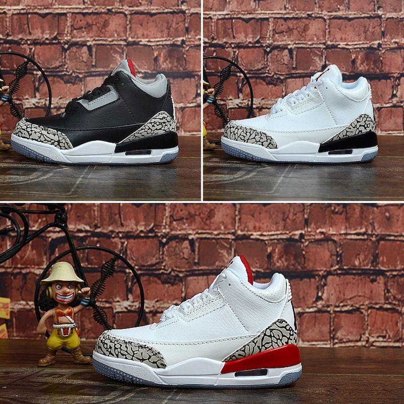 Nike Air Jordan 3 2019 Nouveauté 3 Space Classic Jam Enfants Sports Basketball Shoes GS Cadeaux pour enfants Heiress Maroon 3s Sunset Sneakers Taille: 28-35