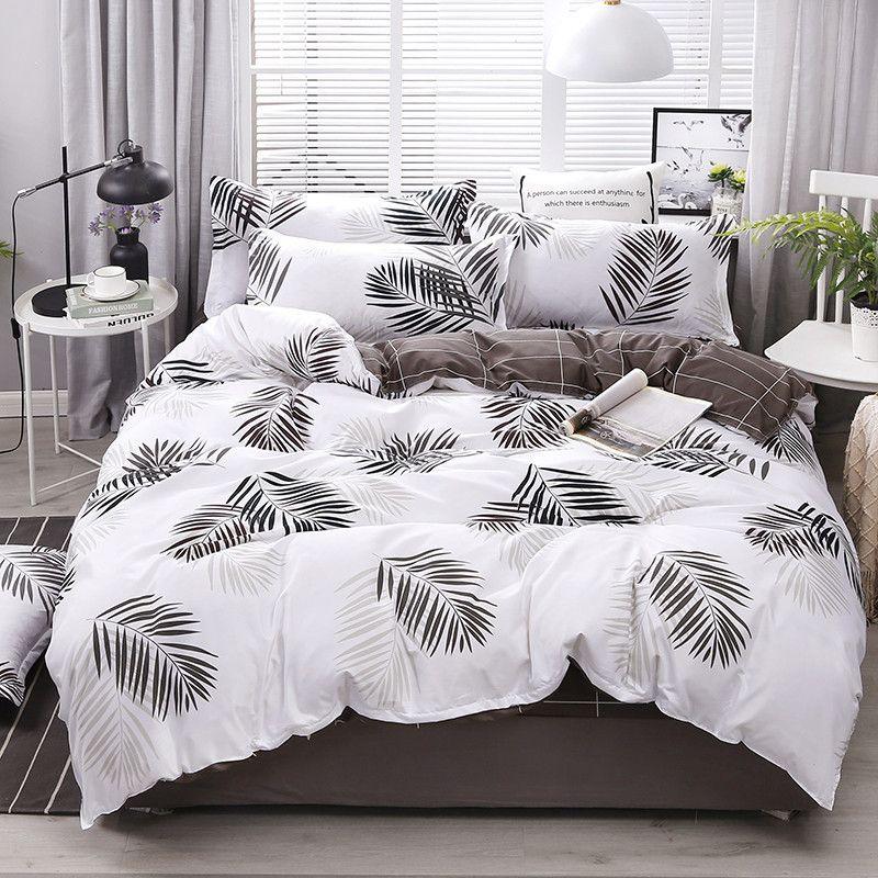 4pcs ensemble de literie coton housse de couette super king set drap de lit Mode housse de couette polyester gris king size ensembles de literie de luxe