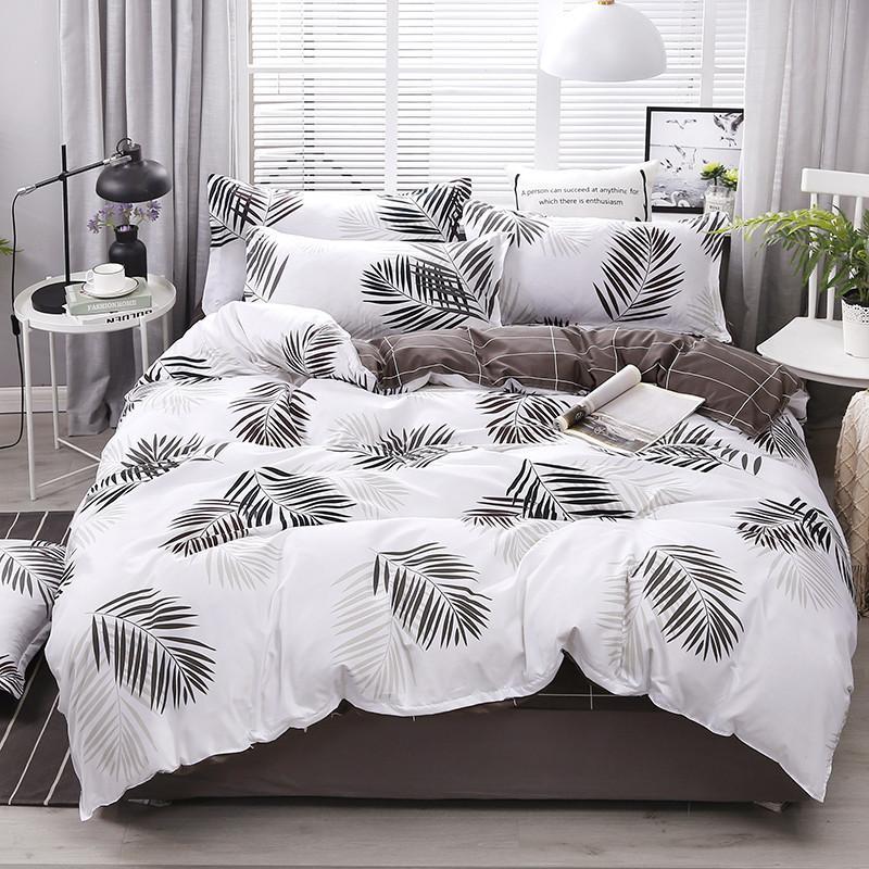 4pcs Bettwäschebaumwollsatz Kingbettbezug-Set Mode Bettlaken grau Polyester Bettbezug King-Size-Luxus-Bettwäsche-Sets