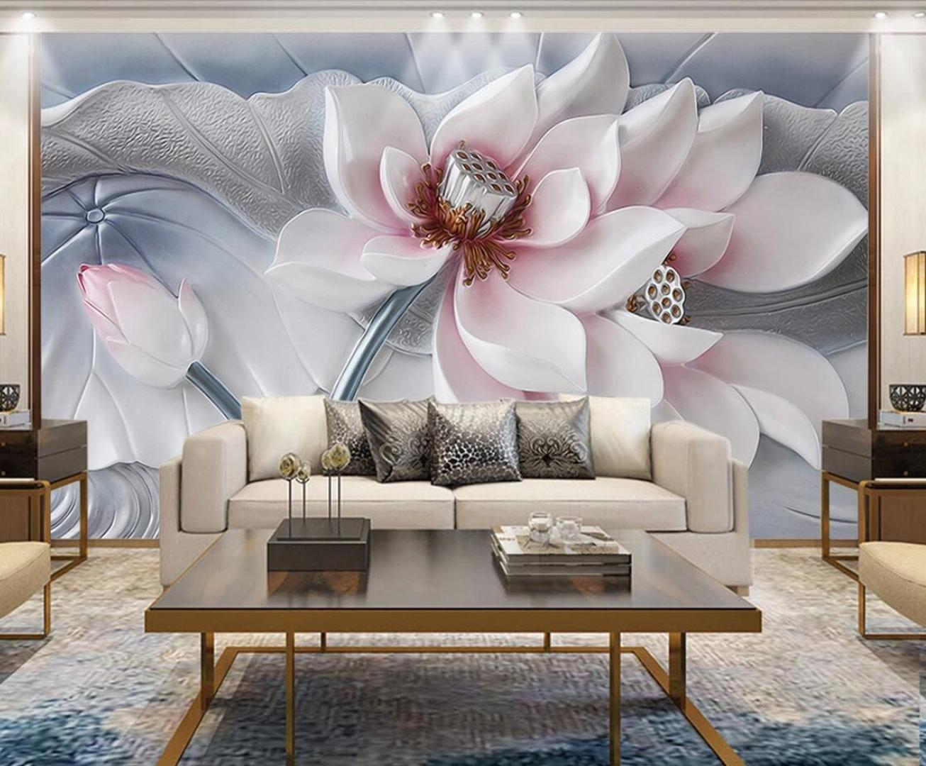 Embossed Water Lily Flower Wallpaper Murals 3d Photo Wall Paper